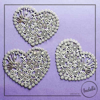 Lace Heart Cut-out Chipboard Shapes Cardmaking Scrapbooking Craft