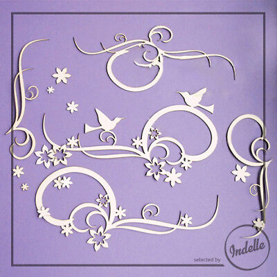 Hummingbird Swirl Flower Ornaments Cut-out Chipboard Shapes 19 Elements Cardm...