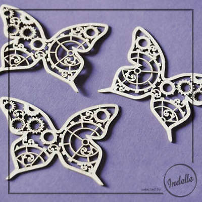 Steampunk Butterfly Cut-out Chipboard Shapes 3 Pack Cardmaking Scrapbooking C...