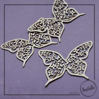 Butterfly Wedding Ornament Chipboard Shapes 3 Pack Cardmaking Scrapbooking Craft