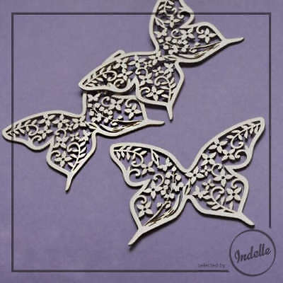 Butterfly Wedding Ornament Cut-out Chipboard Shapes 3 Pack Cardmaking Scrapbo...