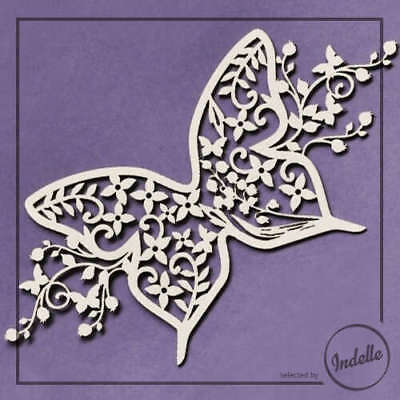 Butterfly Wedding Ornament Cut-out Chipboard Shape Cardmaking Scrapbooking Craft