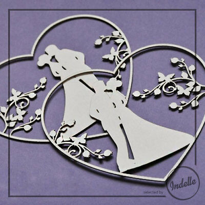 Love Heart Wedding Couple Chipboard Shapes 2 Pack Cardmaking Scrapbooking Craft