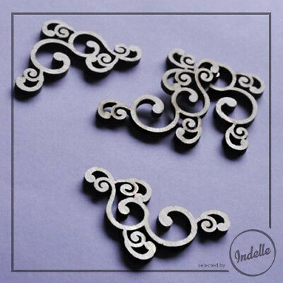 Swirls Corner Ornaments Cut-out Plywood Shapes - 4 Pack Craft Decoupage Scrap...