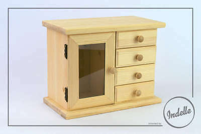Jewllery Chest Wooden Storage Box With 4 Drawers Plain Storage Box Craft Deco...