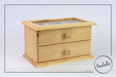 Jewllery Chest 26x15x15.5cm Wooden Storage Box With Organiser and Drawer Plai...