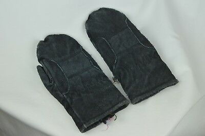 Vintage Black Leather Ladies Gloves Mittens Distressed