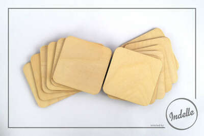 Square Plywood Coasters - 6 Pack