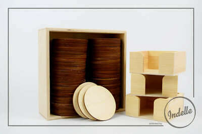 6 Round Plywood Coasters With a Wooden Holder