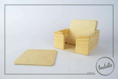 6 Square Plywood Coasters With a Wooden Holder