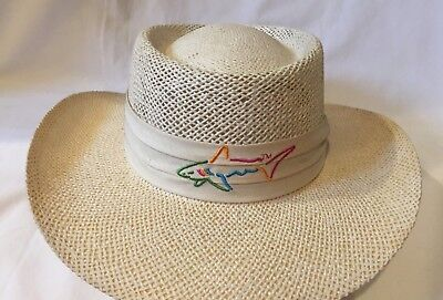 16dc104cc6a Greg Norman Reebok Straw Golf Hat Made in USA VGC Cream color