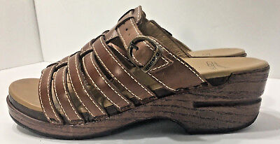 DANSKO STRAPPY Brown LEATHER SLIP ON slides CLOG SANDALS WOMEN'S Sz 6.5 7 EU 37