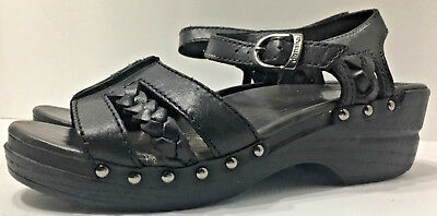 Dansko Strappy Black Leather Slip On Clog Sandals Women's Size 7.5 8 Eu 38