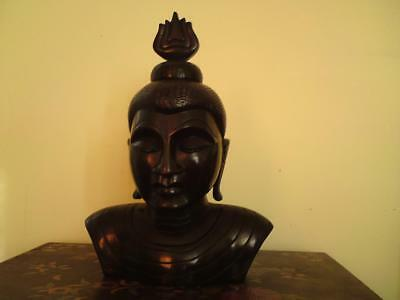 Mid 20th century Sri Lanka Ceylon Carved wooden Hardwood Buddha Bust Sculpture