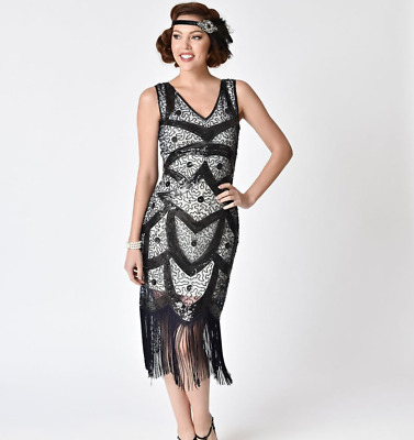 17da3cb1872b3 NWT Unique Vintage Beaded Sequined Fringe Colette 1920 s Flapper Dress Small