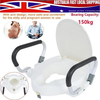 Raised Toilet Seat Raiser With Lid Removable Padded Cushion Comfort Arms Clean