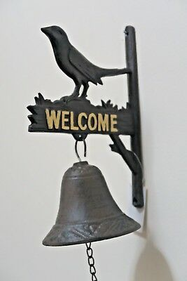 Cast Iron Antique Bird Welocme Door Bell Bracket Wall Mounted Doorbell