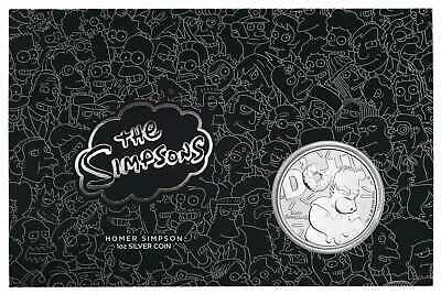 2019 The Simpsons - Homer 1oz .9999 Silver Coin in Black Card - The Perth Mint