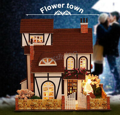 German Style Tudor Mini Wooden Doll House with Music Box Dust Cover LED Lights
