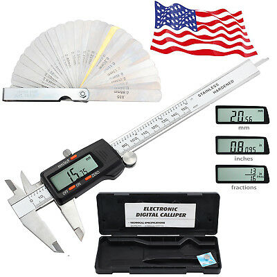 Digital Electronic LCD Vernier Caliper Fractions/Inch/Metric + Feeler Gauge Tool