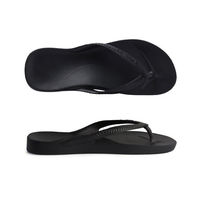 Archies High Arch Support Thongs Black Sandal Flip Flop