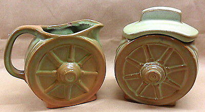 Vtg Frankoma Wagon Wheel Creamer & Sugar With Lid Prairie Green