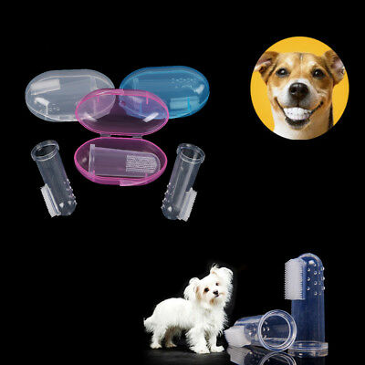 Durable Pet Finger Latex Brush Toothbrush Dog Teeth Care Cleaning Supplies New