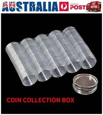 100x Clear Round Plastic Coin Capsules Coin Display Cases Container Box 40mm AU