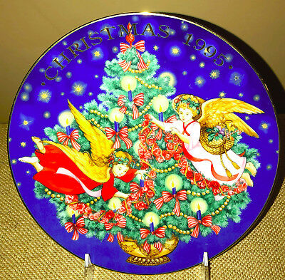 Avon 1995 Trimming the Tree Collector Plate Colorful, Beautiful
