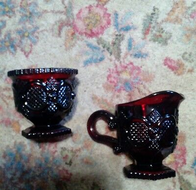 Avon 1876 Cape Cod Ruby Red Cranberry Glass Sugar & Creamer Pitcher