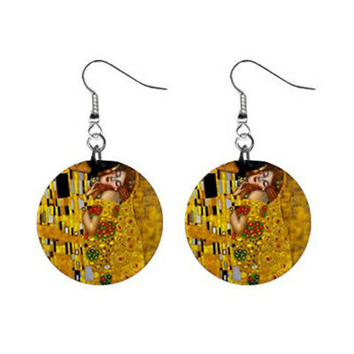 """New The Kiss by Gustav Klimt 1"""" Button Earrings Free Shipping"""