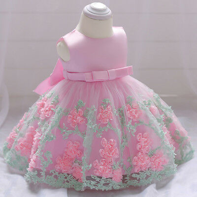 Baby Girls Sleeveless Dress Floral Lace Wedding Bridesmaid Priness Party Outfit