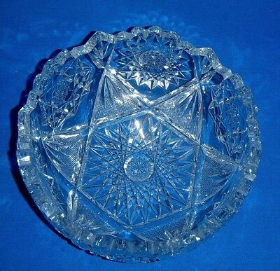 Outstanding - Antique 1890's Early American Cut Glass Bowl - Starburst Pattern