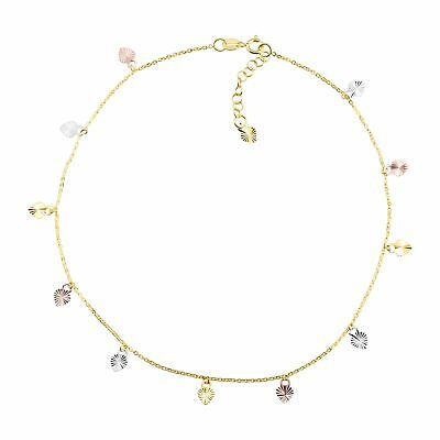 Eternity Gold Heart Charm Anklet in 10K Three-Tone Gold