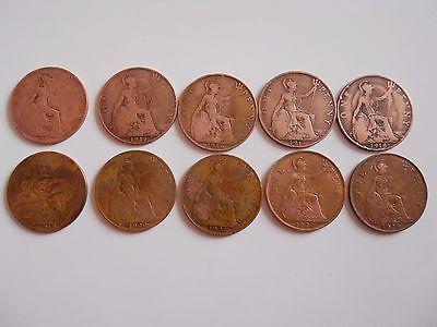 British One Penny Coins X 10   George V   1911-1928