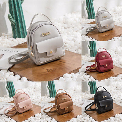 Women Girls School Bag PU Leather Backpack Mini Rucksack Purse Travel  Handbag 877693a508476