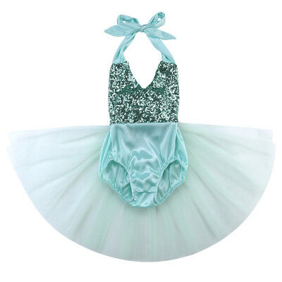 Sequins Infant Kids Baby Girl Tulle Romper Jumpsuit Sunsuit Outfits Mint Green