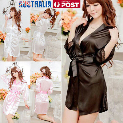 Women plain Silk Satin Robes Bridal Wedding Bridesmaid Bride Gown bath robe AU