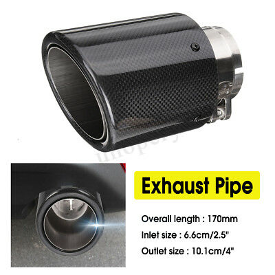 66mm Car Exhaust Pipe Tail Muffler End Tip Rolled Edge Carbon Fiber Universal