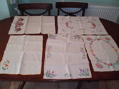 5 Assorted Vintage Tray / Table  Cloths