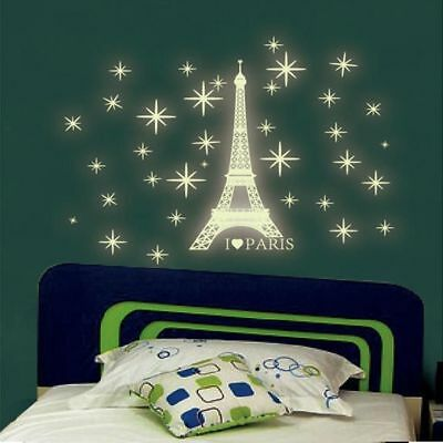 Paris Tower Wall Sticker Kids Bedroom Fluorescent Glow In The Dark Wall Stickers