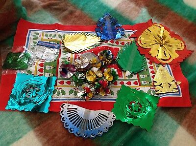 Christmas Foil Decorations. 1980's Foil Baubles. Hanging Garlands. Bundle.