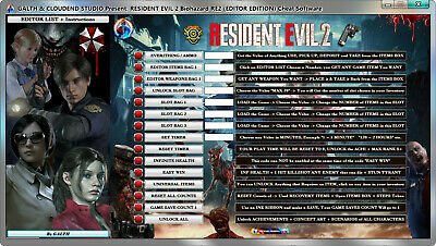 RESIDENT EVIL 2 BIOHAZARD RE2 Cheats Software (FREE UPDATE  LIFE-TIME)