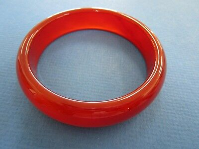 Chinese  Red / Orange  Carnelian/Agate  Semi Translucent Ladies Bangle