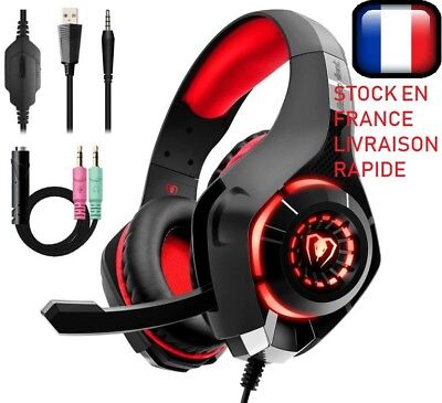 Casque Gaming Gamer MIC Stéréo Basse LED pour PC Mac Laptop PS4 Xbox One