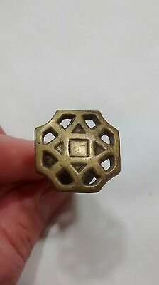 Victorian Eastlake Lattice Brass Drawer Pull Antique Architectural Salvage