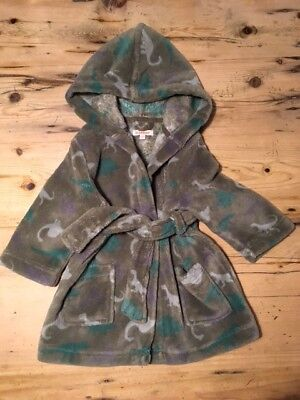 Debenhams Blue Zoo Dinosaur Hooded Dressing Gown Size UK 12-18 Months