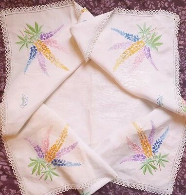 Stunning Vintage Old Hand Embroidered Tablecloth Linen Corn Straw Flowers Lace