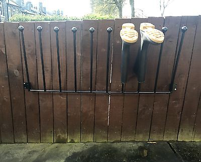 5 Pair Wrought Iron Wall Mounted Welly Wellington Boot Rack Stand 2/3/4/5/6 Av