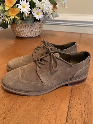 0b9451f67 TOMMY HILFIGER Jaynnie Tan Suede Leather Wingtip Oxford Womens Size 7 M